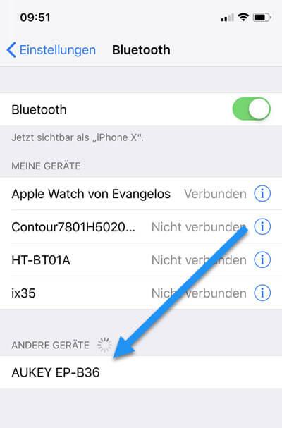 AUKEY EP-B36 verbinden mit iPhone