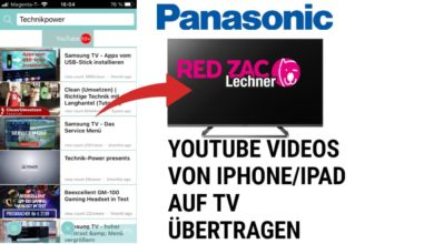 Bild von Youtube Videos von iPhone auf Panasonic TV übertragen