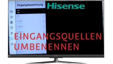 Bild von Eingangsquellen umbenennen Hisense TV